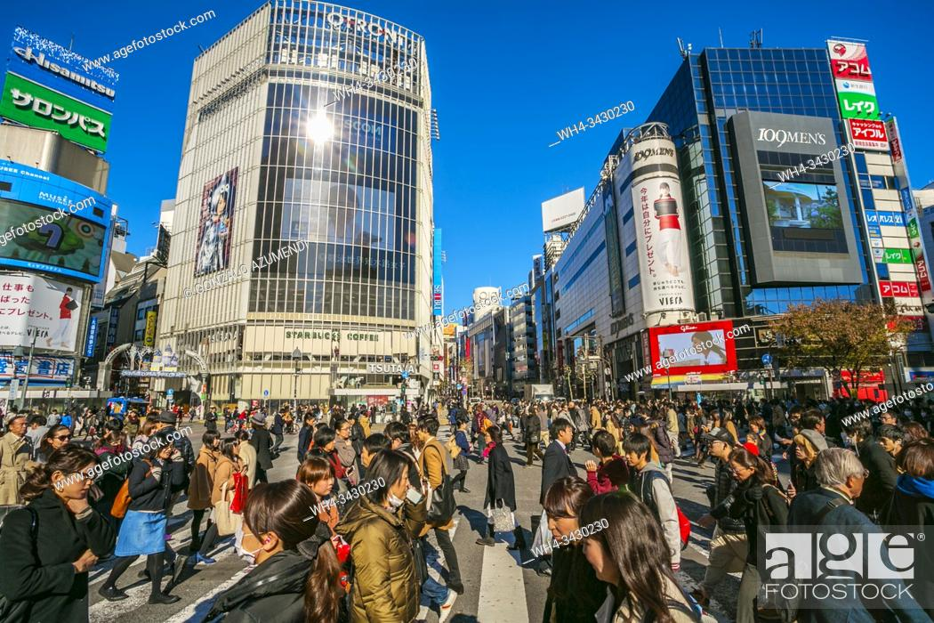 Stock Photo: Shibuya Crossing, the busiest intersection in the World, Tokyo, Japan, Asia.