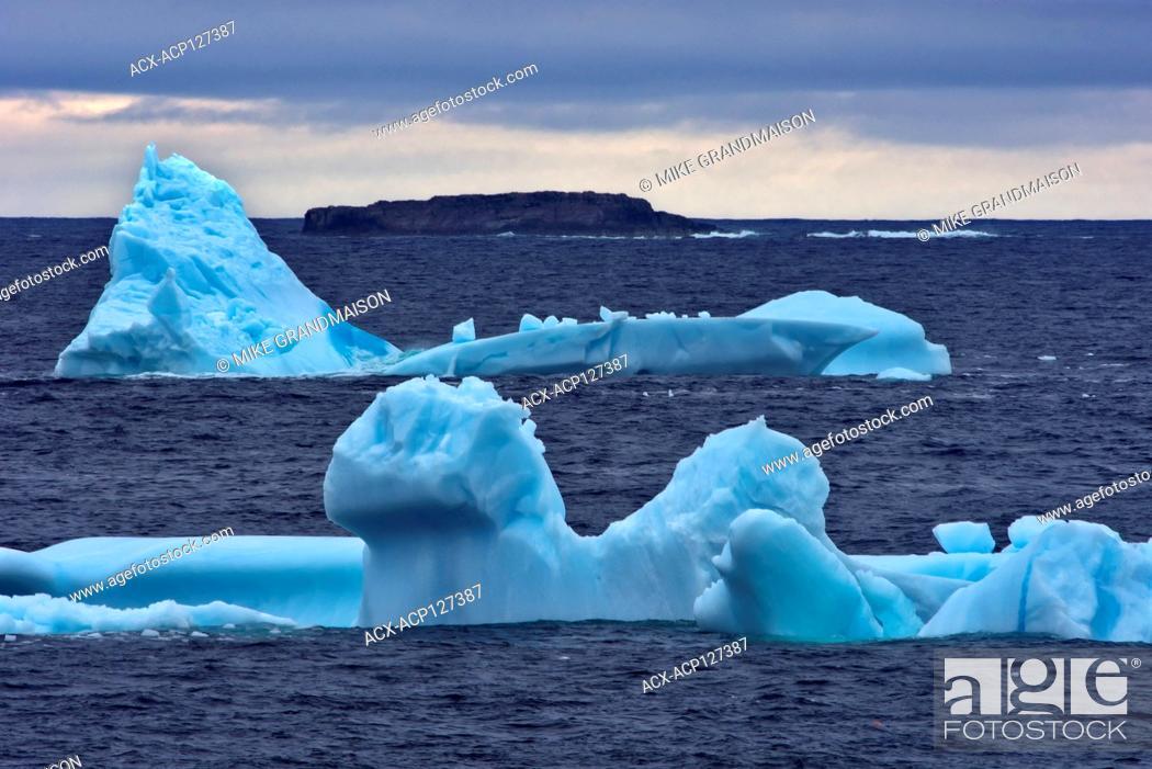 Stock Photo: Icebergs at dusk on Bonavista Peninsula, Atlantic Ocean, Bonavista, Newfoundland & Labrador, Canada.