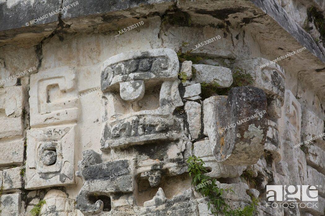 Stock Photo: Choc Rain God Mask, Iglesias (Church), Chichen Itza, UNESCO World Heritage Site, Yucatan, Mexico.