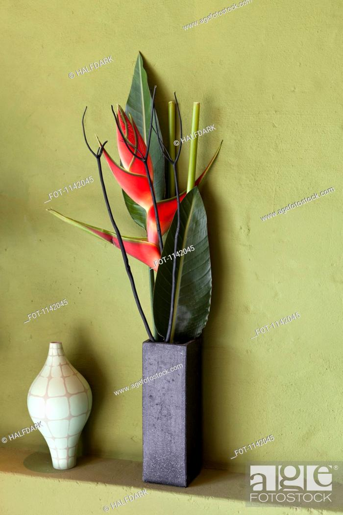 Stock Photo: Flowers and vases on a shelf.