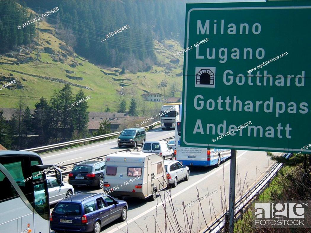 Stock Photo: Traffic jam in Easter holidays. Gotthard. Switzerland.