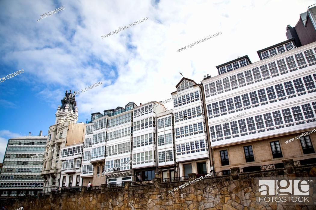 Stock Photo: Traditional white wooden glazed windows in A Coruna, Galicia, Spain.