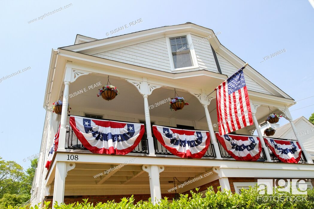 Stock Photo: A home decorated for Memorial Day in Vineyard Haven, Martha's Vineyard, Massachusetts, United States, North America. Editorial use only.