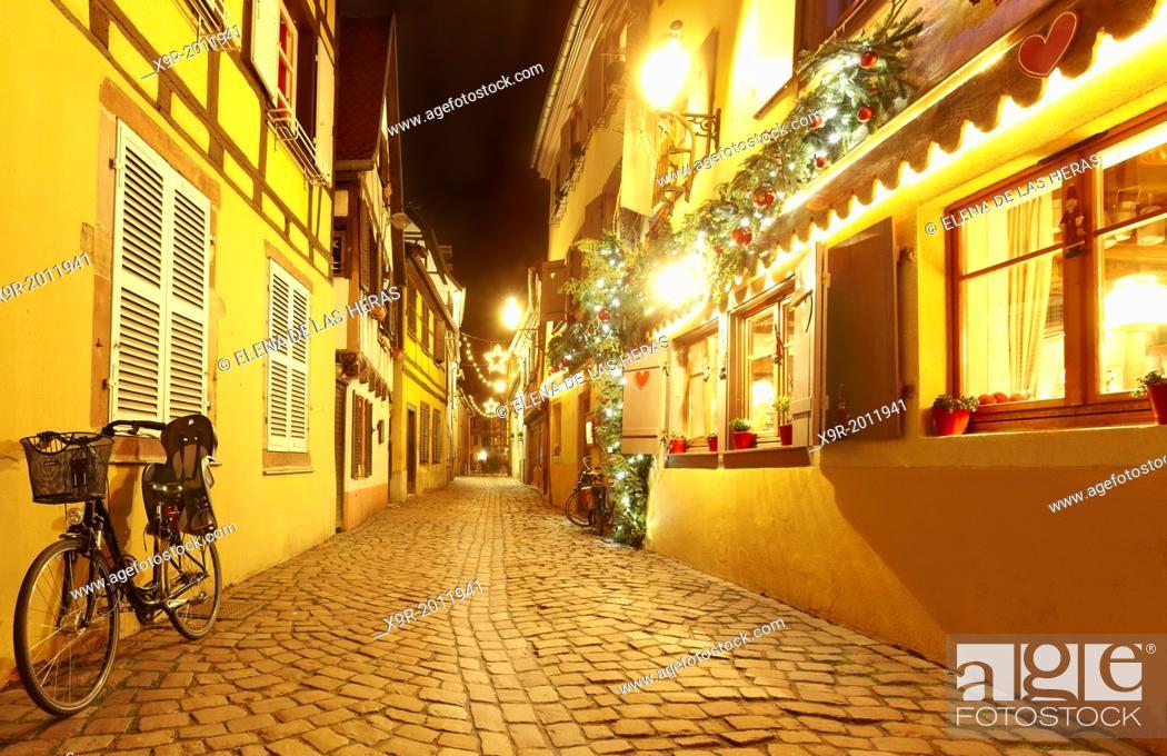 """Stock Photo: """"""""""""""""""""La Petite Venise"""""""" (Little Venice) restaurant with Christmas decoration. Colmar. Wine route. Haut-Rhin. Alsace. France."""