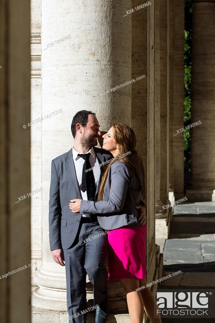 Stock Photo: Engagement couple Piazza del Campidoglio in Rome Italy.