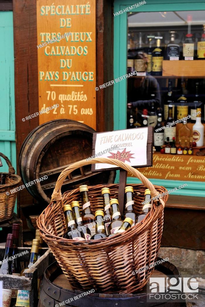 Stock Photo: France, Calvados, Honfleur, sale of calvados.