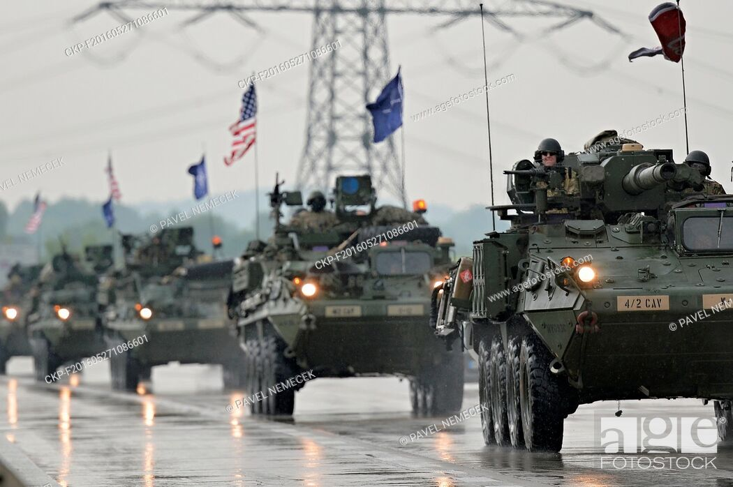 Stock Photo: The first 35 vehicles of the U.S. military convoy, heading for the Saber Strike exercise in the Baltics, entered the Czech Republic at the Rozvadov border.