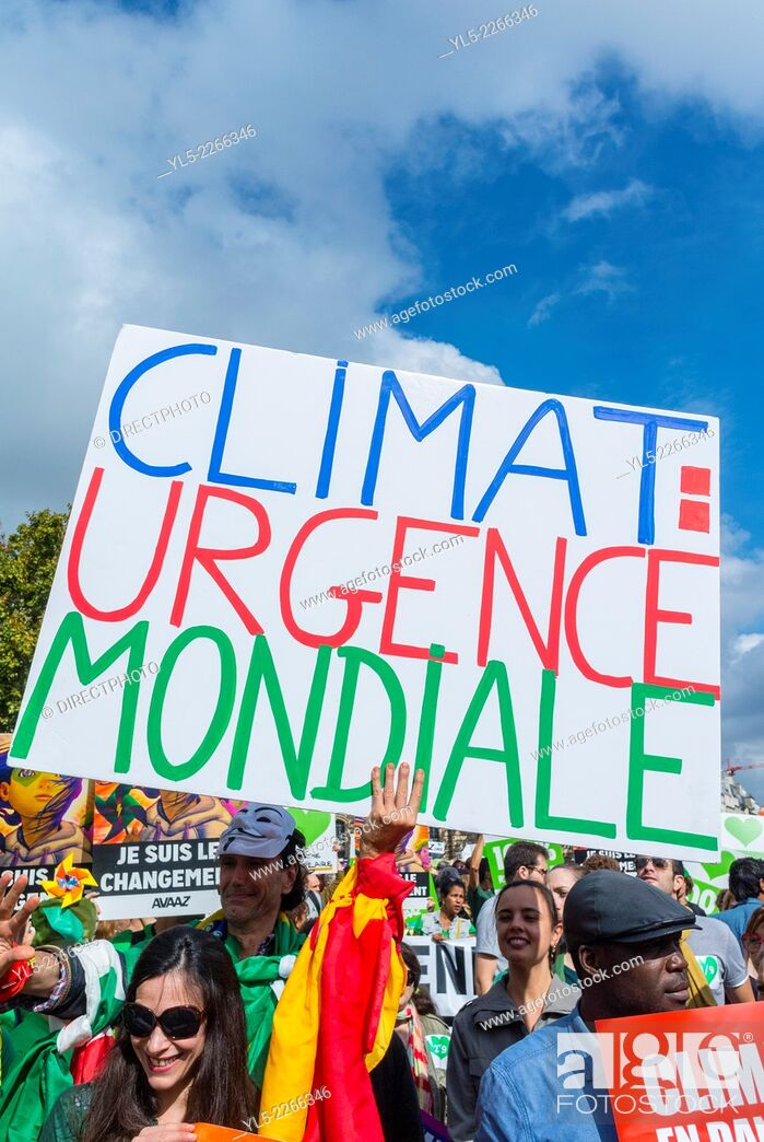 Stock Photo: Paris, France, Public Demonstration, International Climate Change March in Paris, Crowd Holding Signs and Banners Against Global Warming.
