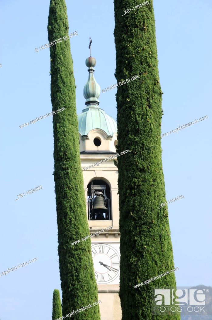 Stock Photo: Gentilino is a village and former municipality in the canton of Ticino, Switzerland, the local Church of Sant'Abbondio.