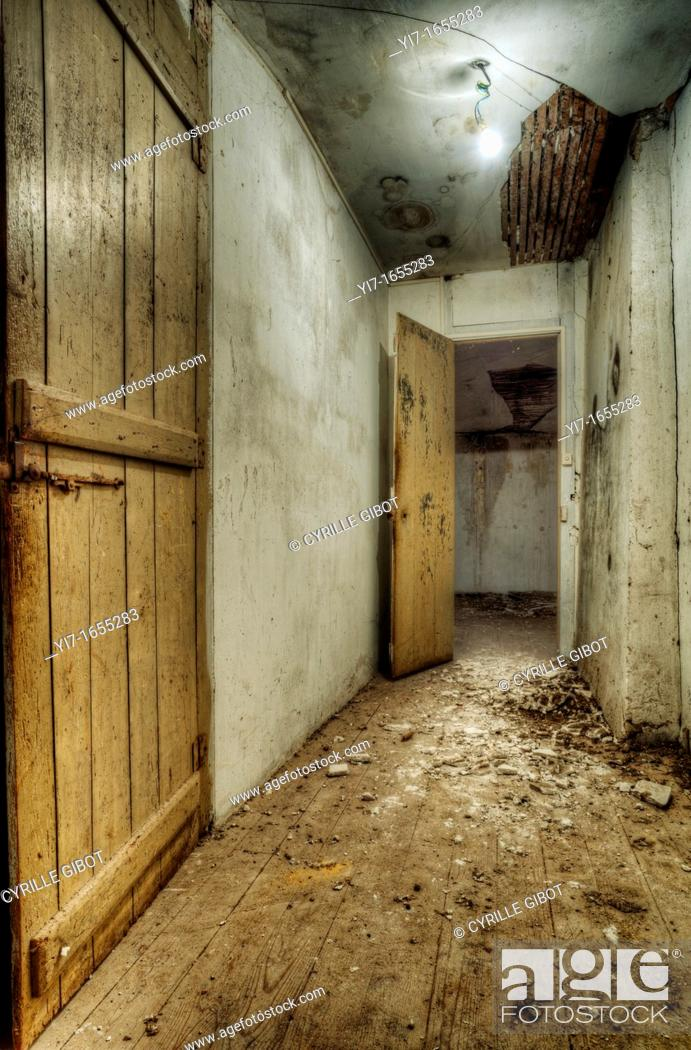 Stock Photo: Corridor in abandoned house.