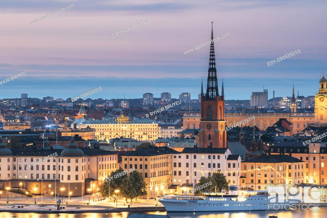 Stock Photo: Stockholm, Sweden. Scenic View Of Stockholm Skyline At Summer Evening. Famous Popular Destination Scenic Place In Dusk Lights.