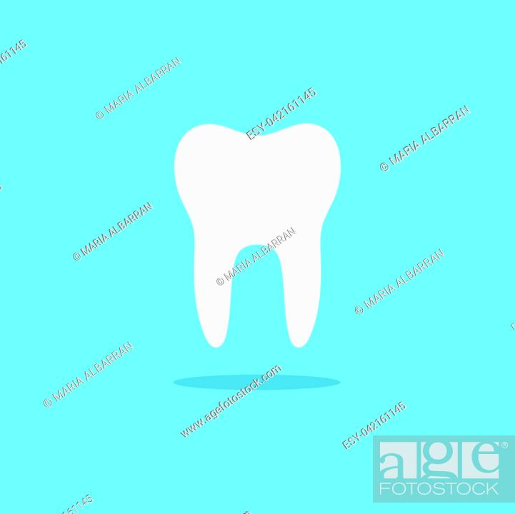 Vecteur de stock: Tooth flat icon with shade on a blue background. Vector illustration.