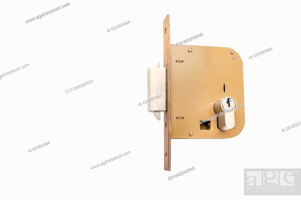 Photo de stock: an security lock with cylinder and key door handle.