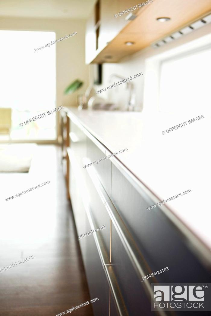 Stock Photo: Close up of counter in modern kitchen.