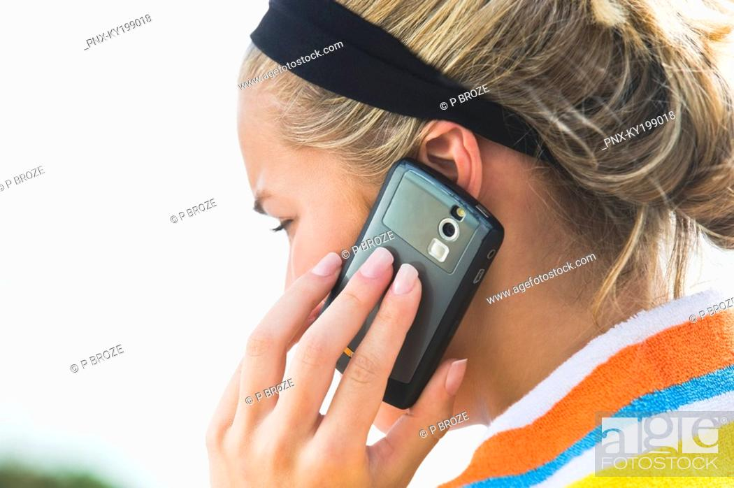 Stock Photo: Close-up of a woman talking on a mobile phone.