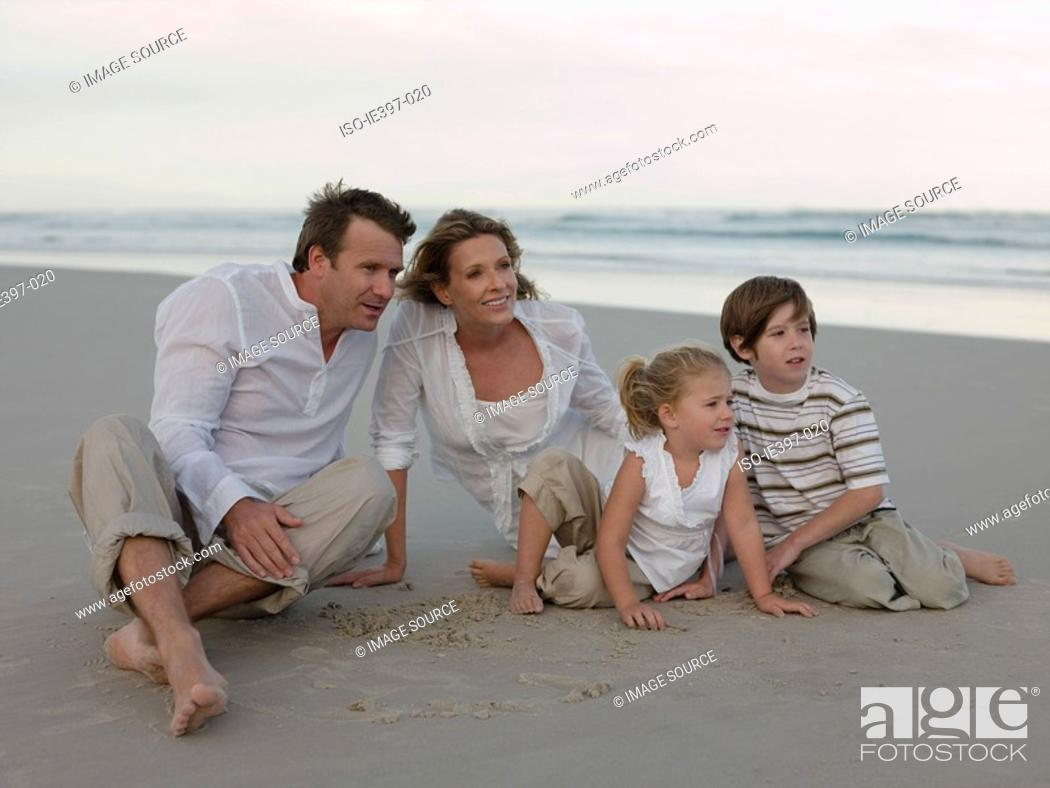 Stock Photo: Family at the beach.