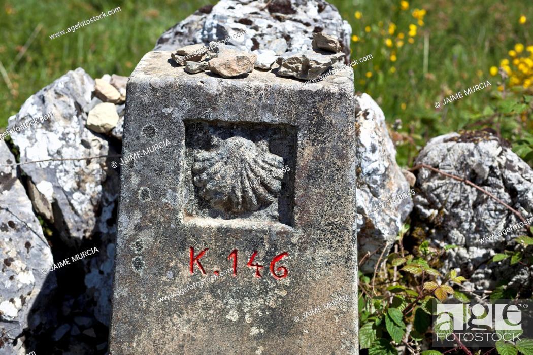 Imagen: Way marker along the Camino de Santiago, village of Alto de San Roque.