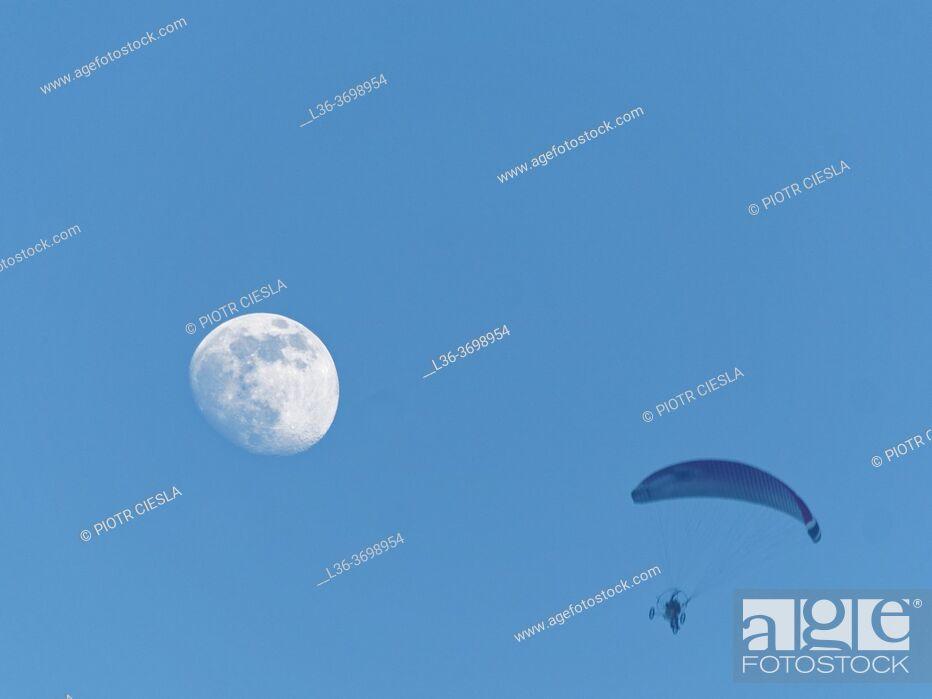 Photo de stock: Poland. Motorglider and moon.