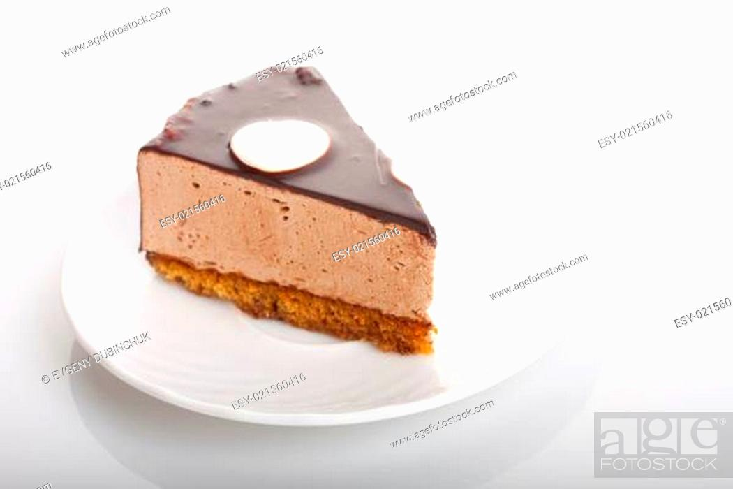 Stock Photo: chocolate cake on the plate.