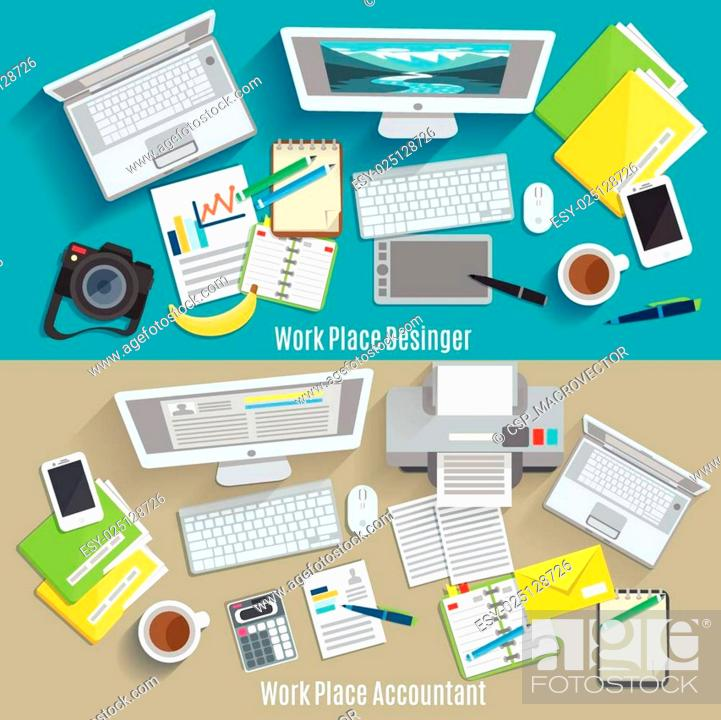 Stock Vector: Work Place Banner Set.