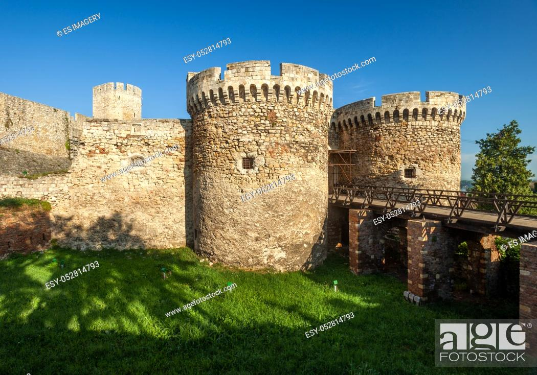 Stock Photo: Belgrade's historic Kalemegdan Fortress, a public-owned park and Serbia's largest fortification.