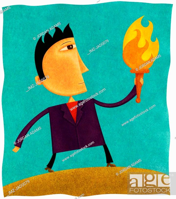 Stock Photo: A businessman holding a flaming torch.