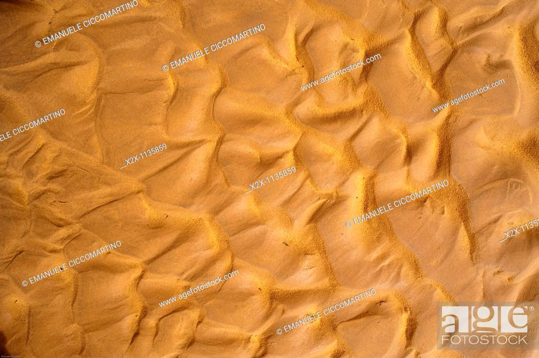 Stock Photo: Sand, Saf Saf river, border with Algeria, oasis of Figuig, province of Figuig, Oriental Region, Morocco.