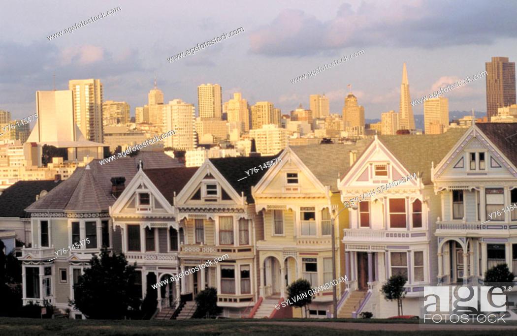 Stock Photo: Alamo Square Victorian Houses. San Francisco.
