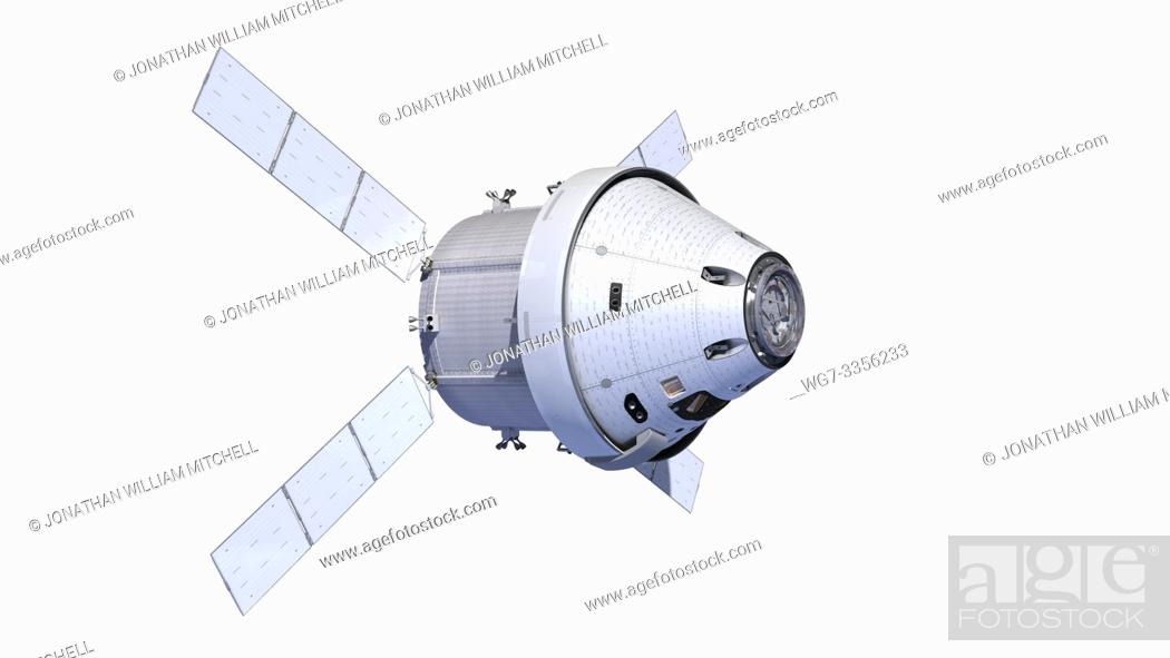 Stock Photo: OUTER SPACE -- 13 Aug 2015 -- Artist's rendering of the new Orion spacecraft with the ESA Service Module. NASA's Orion Program kicked off its critical design.