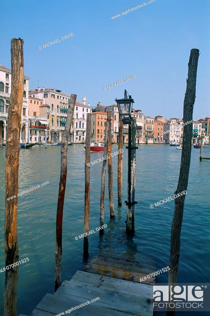 Stock Photo: Italy - Venice - The Grand Canal - mooring post.