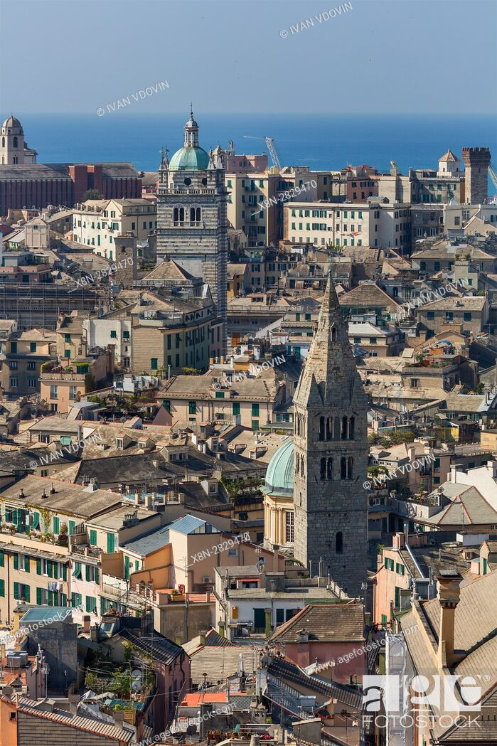 Stock Photo: Cityscape from Spaniata Castelletto, Genoa, Liguria, Italy.