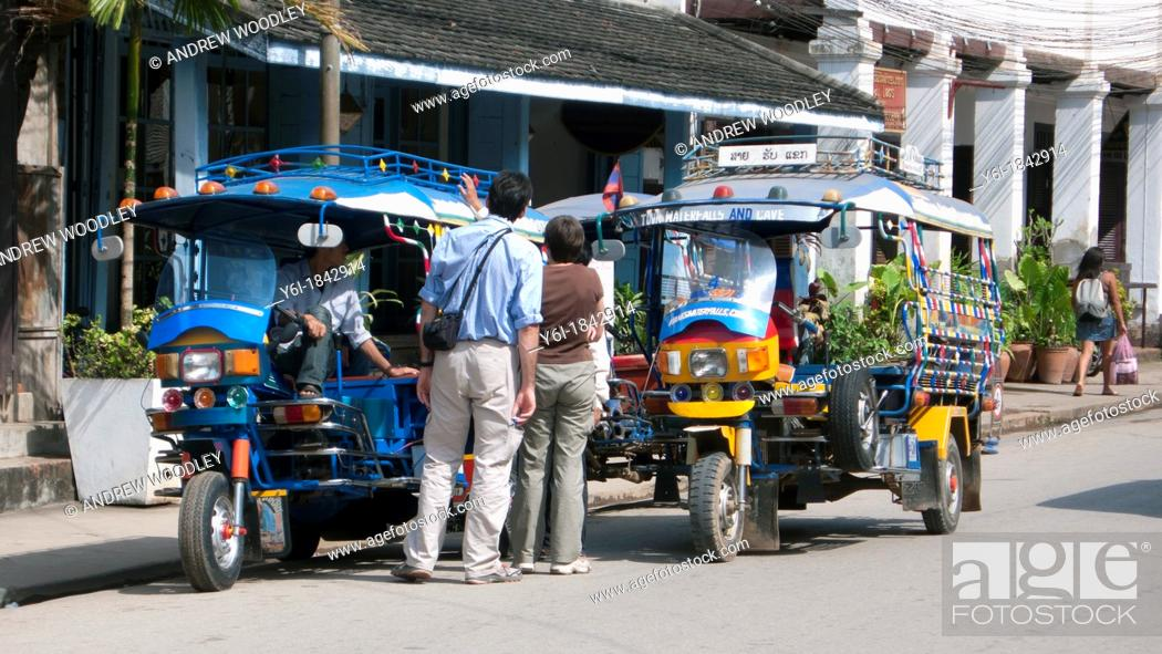 Three Wheeler Taxi And Shops Old Quarter Luang Prabang Laos Stock Photo Picture And Rights Managed Image Pic Y6i 1842914 Agefotostock
