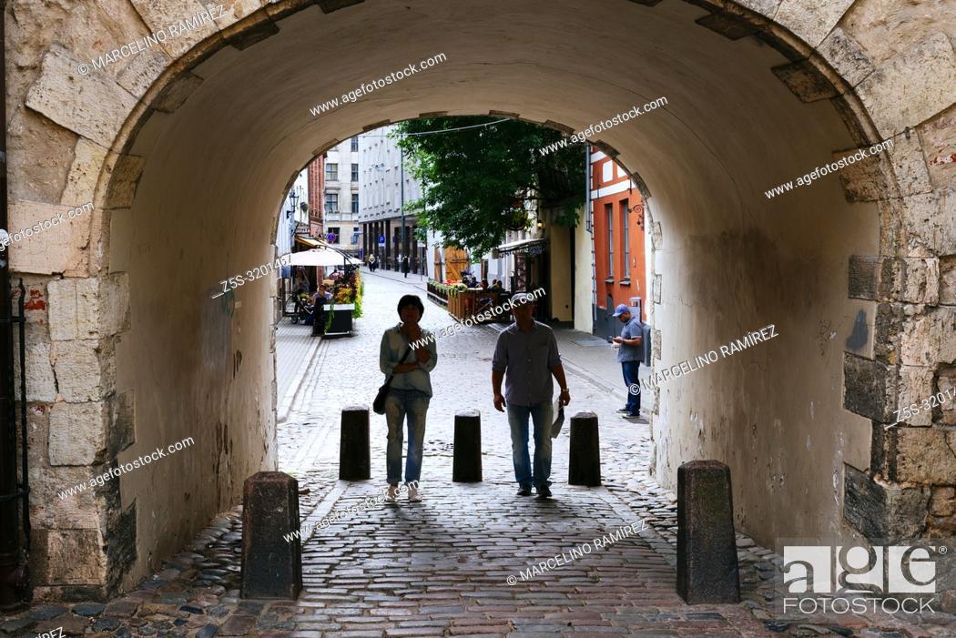 Stock Photo: The Swedish Gate. Riga, Latvia, Baltic states, Europe.