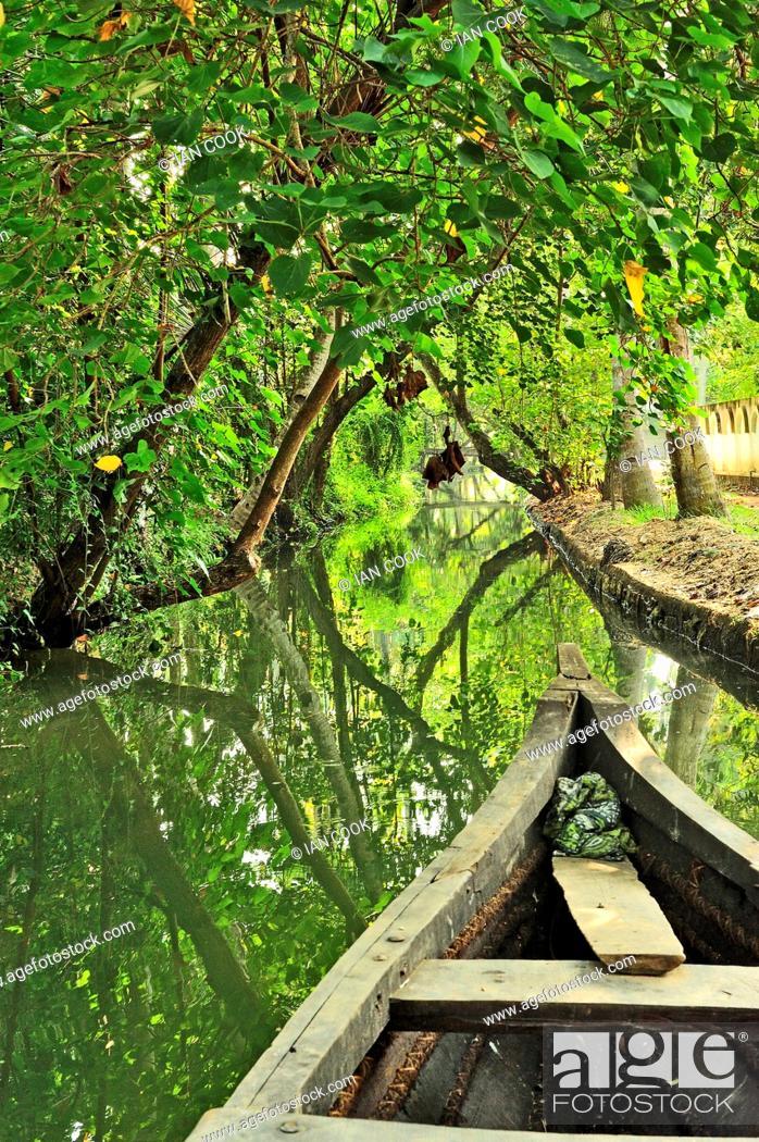 Stock Photo: backwaters of Monroe Island, Kerala, India.