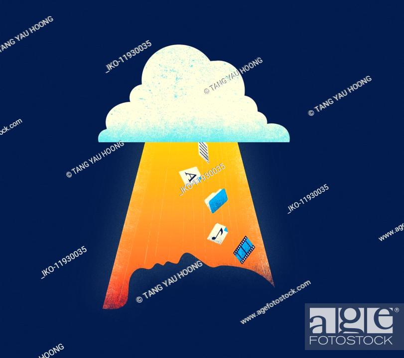 Stock Photo: Cloud computing icons falling towards profile of man's head.