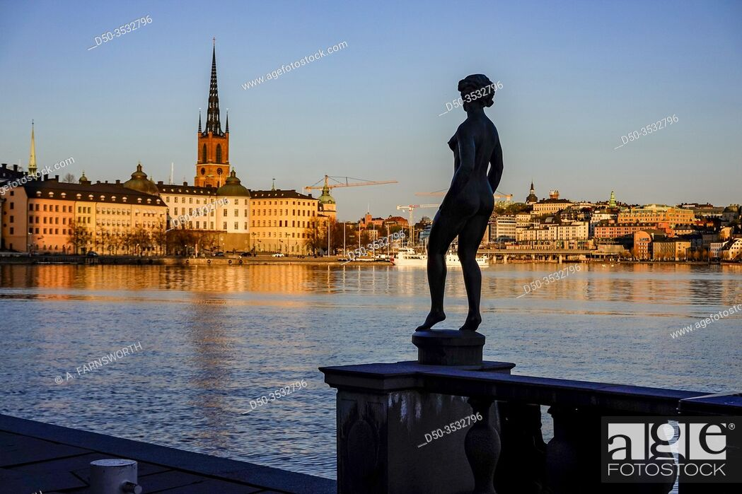 Stock Photo: Stockholm, Sweden Sunset and a view towards Riddarholmen and Old Town or Gamla Stan.