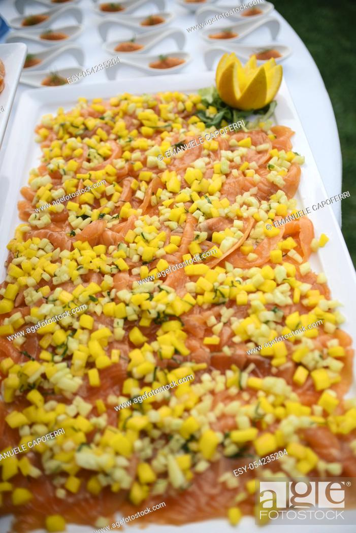 Stock Photo: Salmon with vegetables.