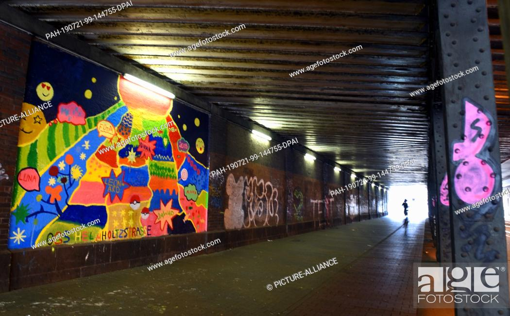 """Stock Photo: 20 July 2019, North Rhine-Westphalia, Duesseldorf: In a campaign supported by the youth welfare office """"""""Beautiful and stupid places in my neighborhood -."""