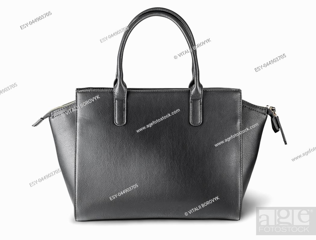 Stock Photo: Ladies black leather bag back view isolated on white background.