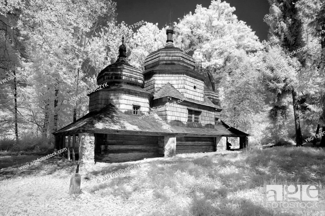 Stock Photo: Infrared Image, Old Orthodox Churcht, Bieszczady Mountains, Poland, Europe.