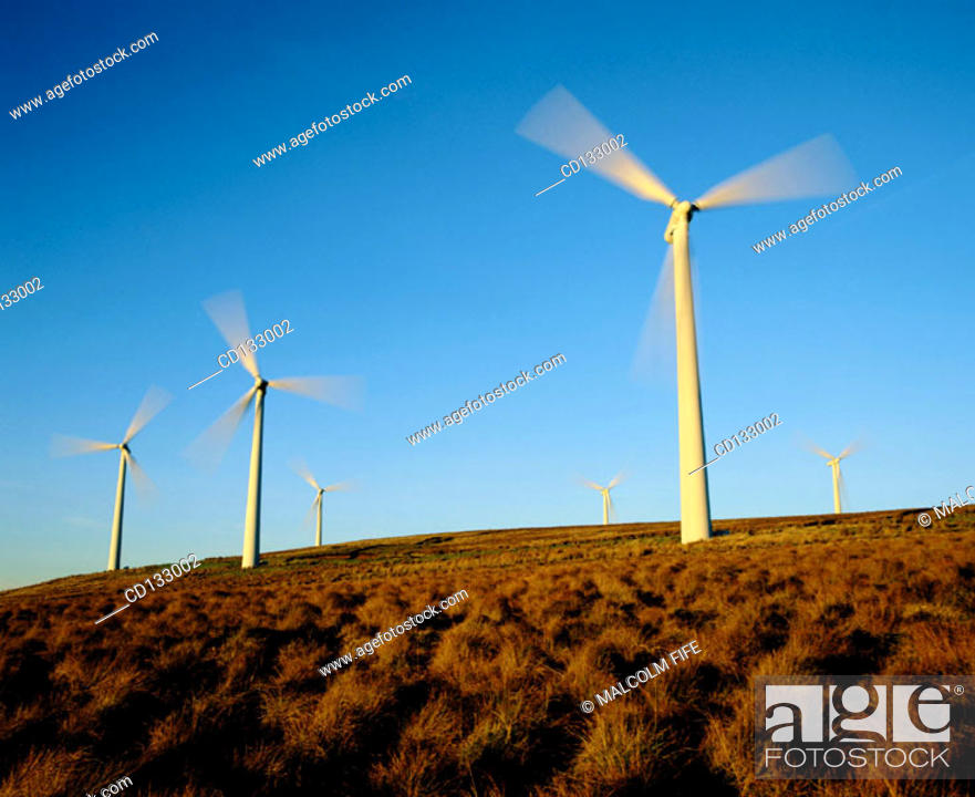 Stock Photo: Windfarm, Central Scotland.