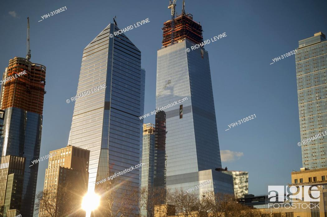 Stock Photo: 10 Hudson Yards, left, 30 Hudson Yards, right, and other Hudson Yards development in New York on Saturday, March 24, 2018.