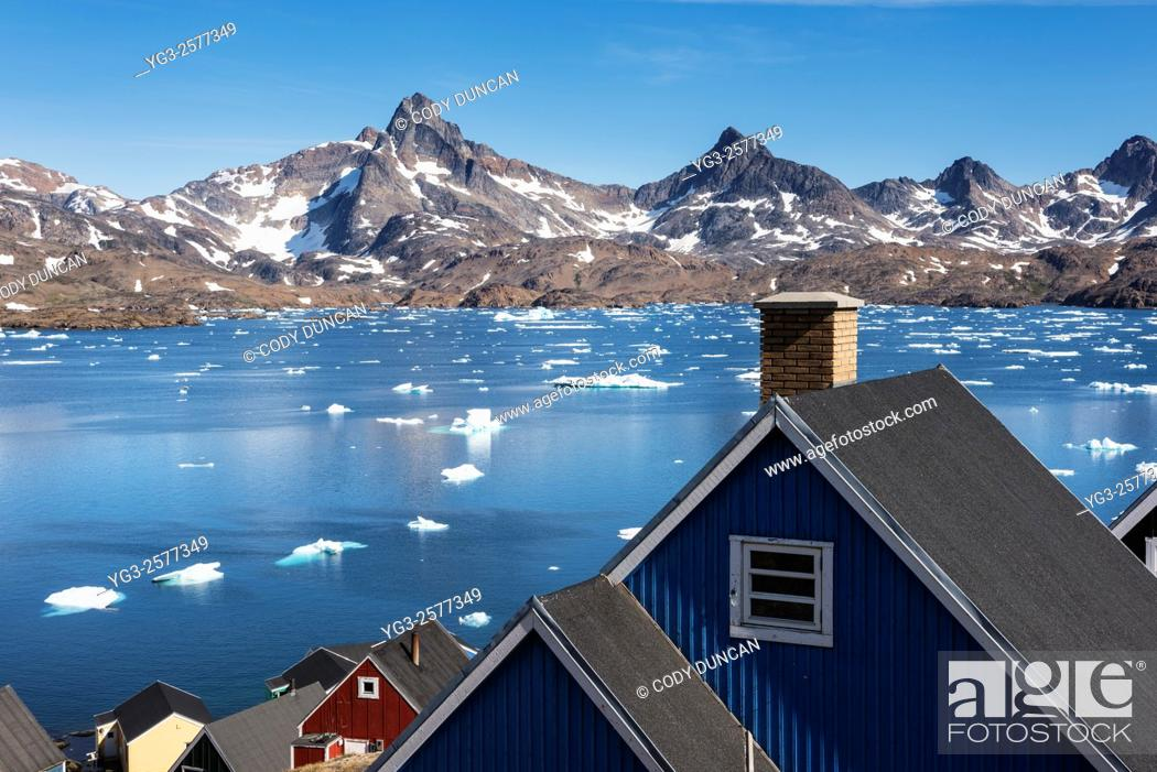 Stock Photo: The colorful and remote village of Tasiilaq, east Greenland.