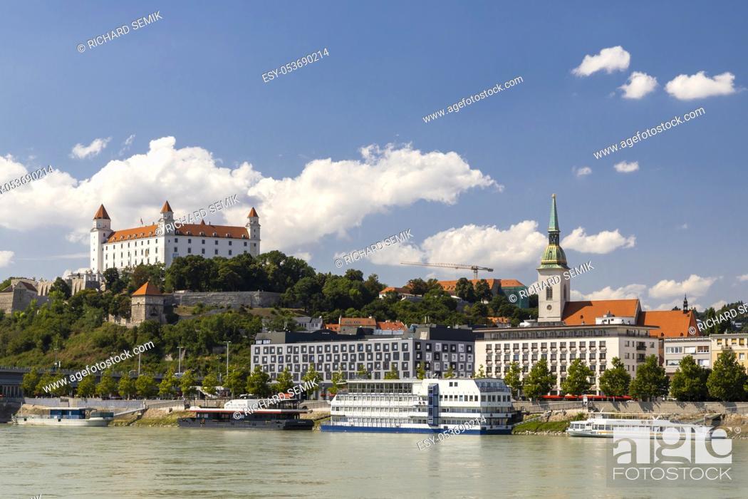 Stock Photo: Bratislava castle and Danube river, Slovakia.