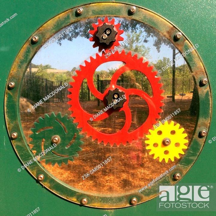 Stock Photo: Play gears in a children's playground, Bird Island Park, Ponte Vedra Beach, Florida, USA.