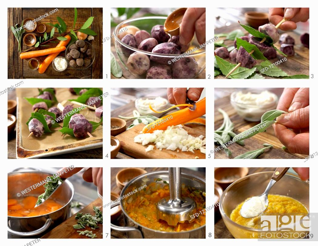 Stock Photo: How to prepare potato and bay leaf skewers with a carrot and sage dip.
