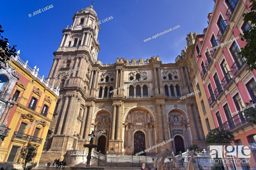 Stock Photo: Cathedral (opened in 1588), Malaga, Region of Andalusia, Spain, Europe.