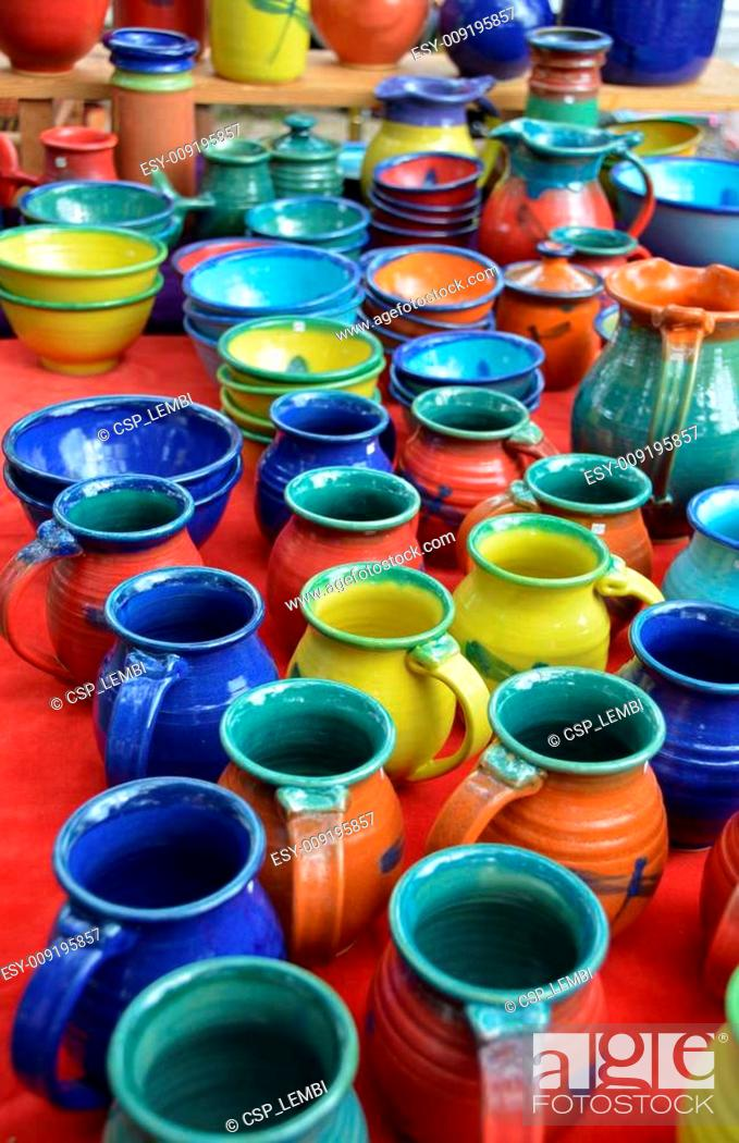 Stock Photo: Colorful hand-made pottery.