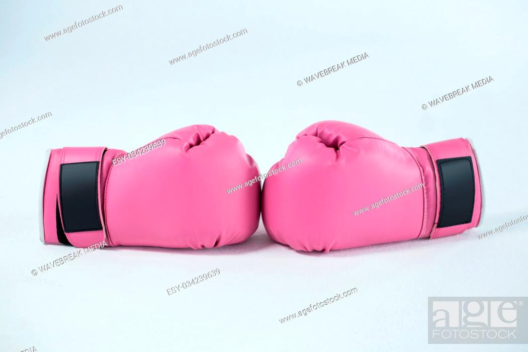 Stock Photo: Close-up pair of pink boxing gloves.