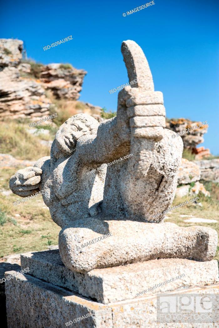 Stock Photo: Old sculpture at Kaliakra, Bulgaria.